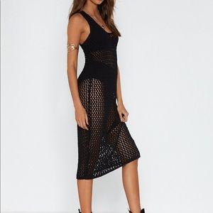 Nasty Gal Crochet Midi Dress in CREAM size S
